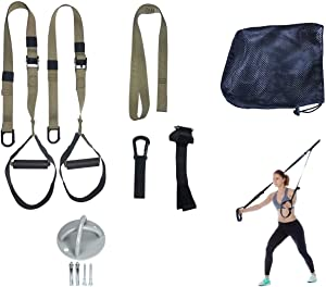 GRASEP Home Gym Bodyweight Resistance Training Kit with Integrated Door Anchors and Extension Strap, Fitness Straps for Total Body Workouts, Home & Travel, Workout Guide Body Workout Training
