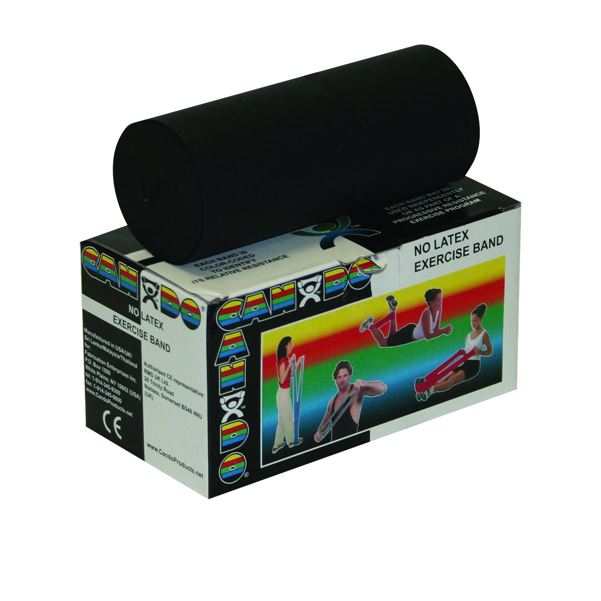 Cando 10-5615 Black Latex-Free Exercise Band, X-Heavy Resistance, 6 yd Length