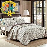 AMWAN Cotton Floral Quilt Coverlet Set King Flower Birds Printed Reversible Quilt Bedspread Set 3 Piece Home Antique Chic Luxury Quilt Set with 2 Pillow Shams Country Style King Size Quilt Bedding Set