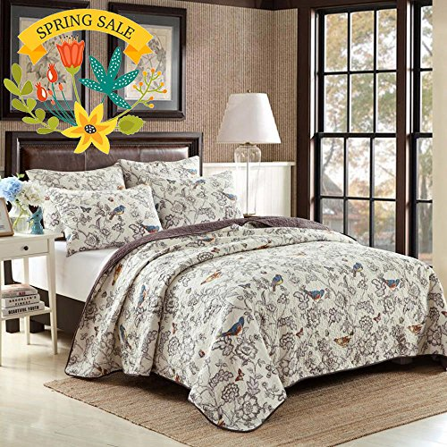 Vintage Floral Quilt Set King Cotton Bedspread Set Beige Brown Reversible Quilt Coverlet Set Luxury Birds Flower Butterfly Printed Quilt Set, Soft and Warm Autumn Winter Quilt Comforter Set by AMWAN (Image #1)