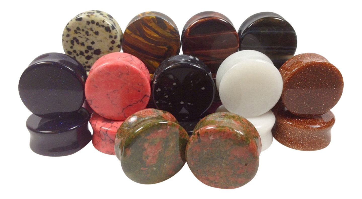 -ALL 10 PAIR- Stone Plugs Organic Double Flare Ear Gauges Body Jewelry (lot 2) (25mm (1''))