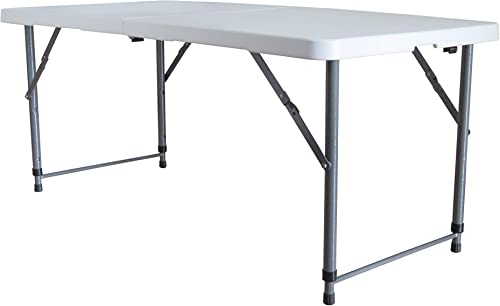 LITTLEFUN Multipurpose Rectangle Table Furniture, Center Folding Table, HDPE TOP White Plastic, 4-Feet Long, 3 Height Adjustable Settings Table for Garden Home Indoors Outdoors Party BBQ