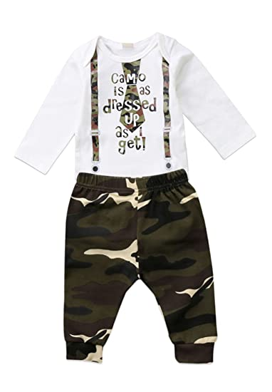 c6be2a710ba Urkutoba Baby Boy Camouflage Clothing Set Newborn Cotton Romper+Camo Pants  2Pcs 2018 New Year