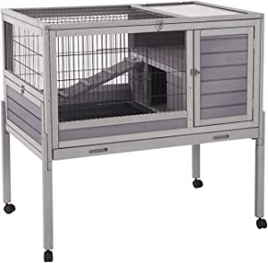 """Rabbit Hutch Indoor and Outdoor 39.7"""" Bunny House on Wheels ,Hamster Cage with Wire Netting Above The Deep Not Leakage Pull Out Tray,Detachable Legs"""