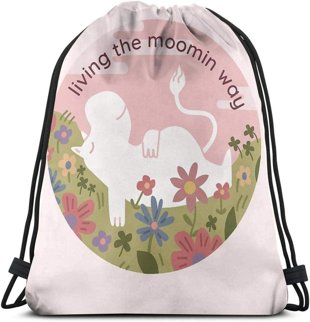 Emonye Live The Moomin Way Drawstring Bag Shoulder Bag Print Backpack Travel Gym Bags Drawstring Backpack Lightweight for Traveling Gym Yoga Storage Gift