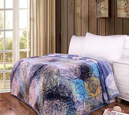 Dada寝具スタイリッシュなSwirly Painting Soft Cozy Warm Plush LuxeフランネルフリースThrow Blanket – 明るくカラフル鮮やかな抽象マルチネイビーブルーイエローホワイト印刷 – 80