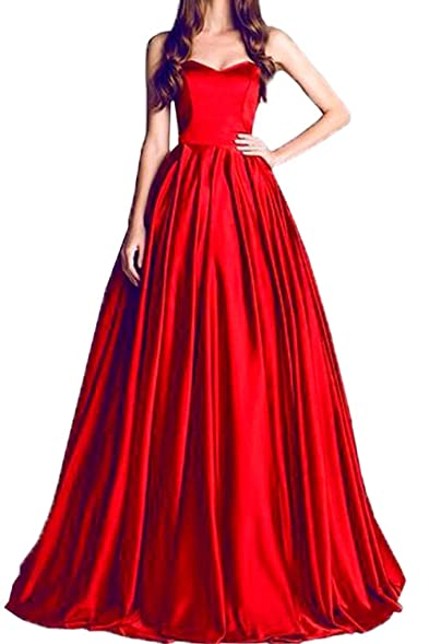 Honey Qiao Red Sweetheart Prom Dresses Long Pleats Evening Party Gown With Train