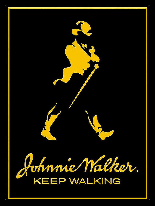 Johnnie Walker Black Metal Plaque Sign 8 x 12 Inch