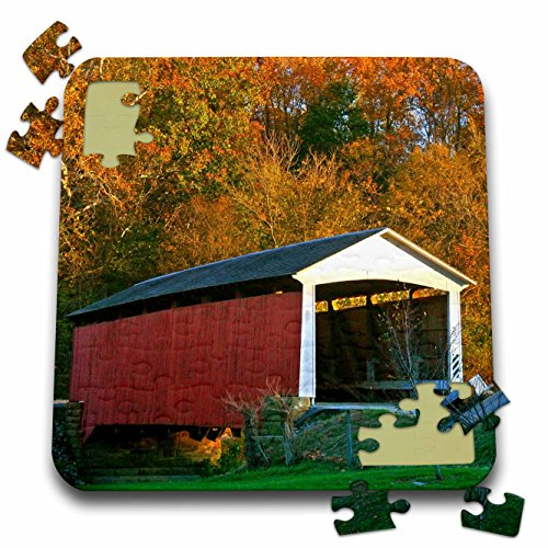 Danita Delimont - Bridges - IN, Billie Creek Village, Covered Bridge Festival - US15 AMI0107 - Anna Miller - 10x10 Inch Puzzle (pzl_90233_2)