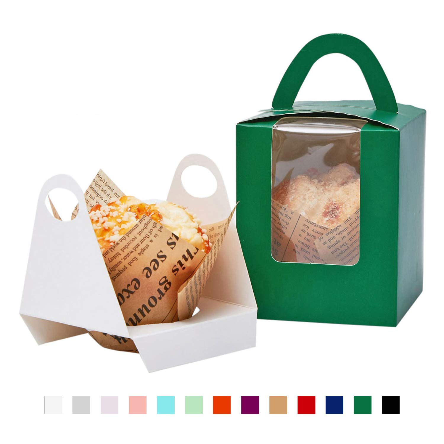 YoTruth Christmas Green Single Take Home Cupcake Boxes for Christmas Party Favors 50 Pack