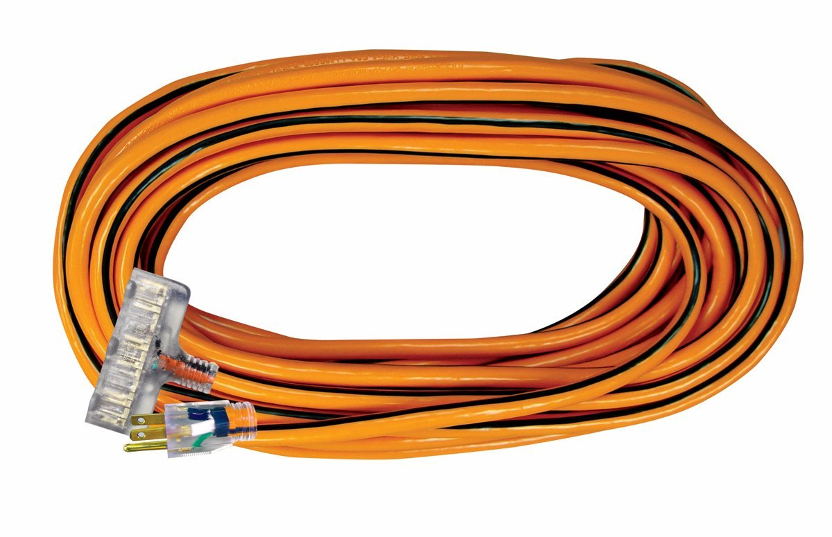 Voltec 05-00120 14/3 SJTW Outdoor Power Block Extension Cord with Lighted End, 25-Foot, Yellow with Blue Stripe