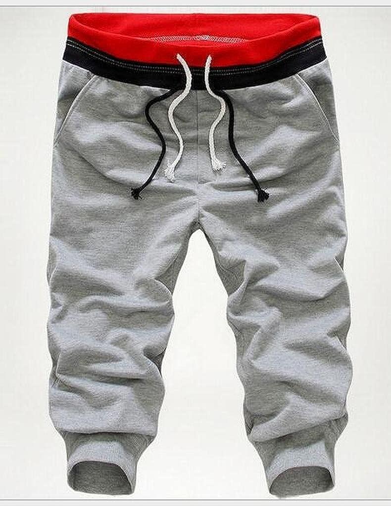 WAWAYA Mens Elastic Waist Casual Sport Running Trainning Cropped Pants Jogger Shorts