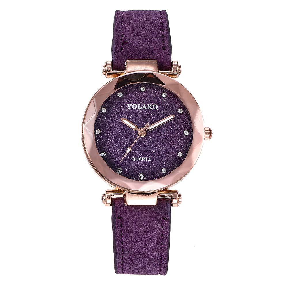 Mnyycxen Ladies Fashion Wrist Watch Women's Waterproof Casual Crystal Quartz Star Dial Watch with Purple Magnetic mesh Belt