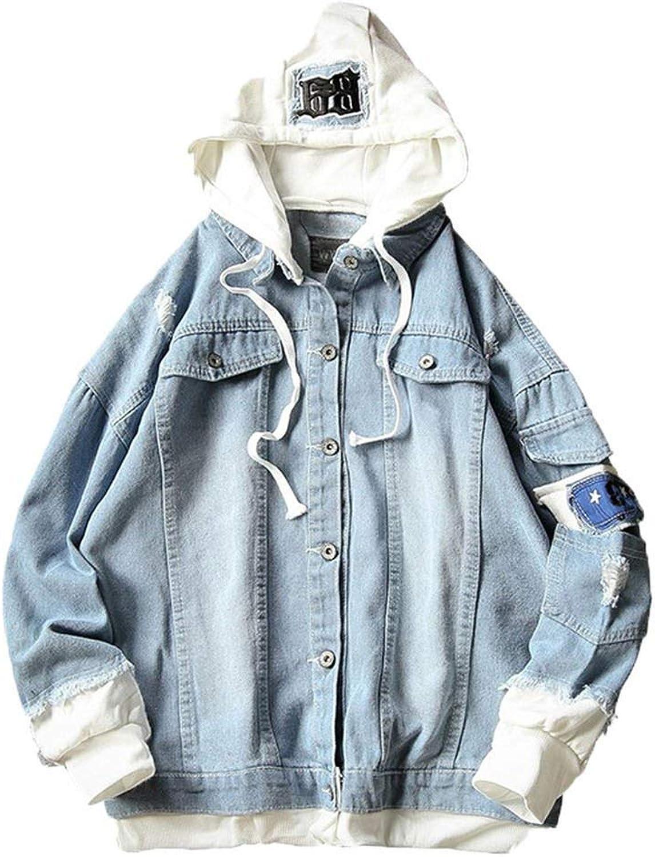 L/&Heart Vetement Femme Men Splicing Denim Printed Pullover Long Sleeve Hooded Sweatshirt Tops Blouse Man Casual Jacket