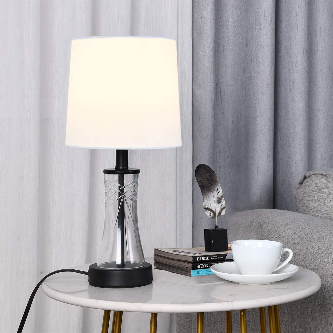 Amazon Com Popity Home Farmhouse Black Clear Glass Table Lamp Modern Accent Small Bedroom Bedside Lamps Mini Desk Lamps With White Fabric Shades For Living Room Nightstand Home Improvement