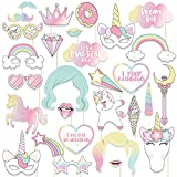Pink Unicorn Photo Booth Party Favor Kit,Rainbow Photo Booth Props DIY Kit for Wedding, Birthday, Party - DIY photo booth Fun Accessories