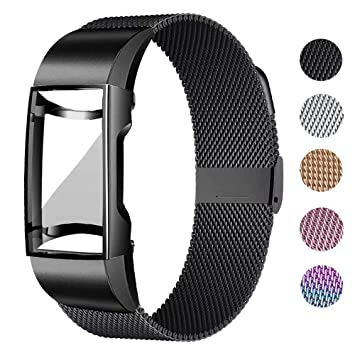 UHKZ Compatible for Fitbit Charge 3/Charge 3 SE Bands with Screen Protector  Case, Stainless Steel Mesh Metal Wristband Loop Accessories for Fitbit