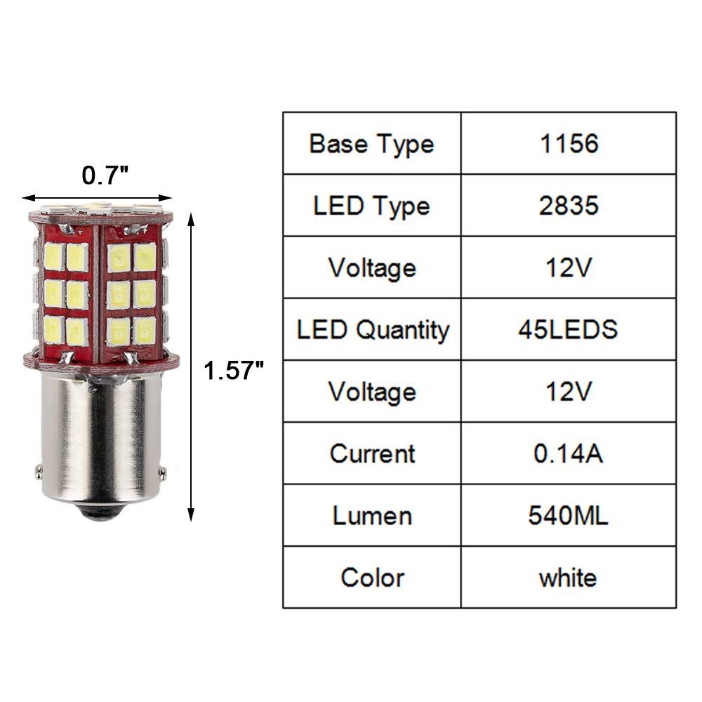 DC 12V TIDO Super Bright 1156 1141//1003//1073//BA15S//7506 LED Replacement Light Bulbs 45 SMD 2835 LED Bulb for RV Camper SUV MPV Car Turn Tail Signal Brake Backup Light White, 10 Pcs