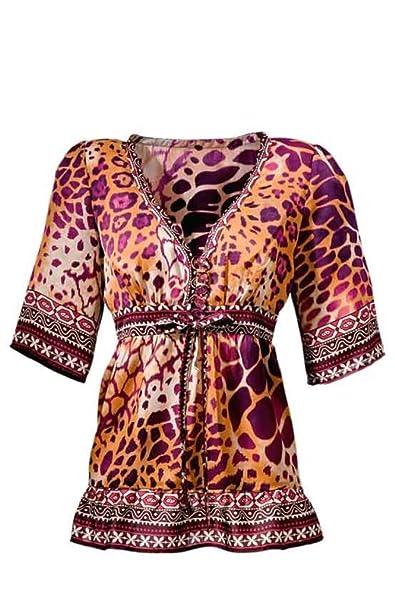 Heine de mujer Blusa túnica Blusa Naranja de Burdeos de color rojo en tamaño 38 poliéster