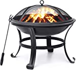 KINGSO Fire Pit, 22'' Fire Pits Outdoor Wood Burning Steel BBQ
