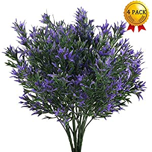 Nahuaa 4PCS Outdoor Fake Plants Artificial Shrubs Faux Plastic Purple Chrysanthemum Leaf Bushes Table Centerpieces Arrangements Home Kitchen Office Indoor Outdoor Planter Pot Spring Decorations 36