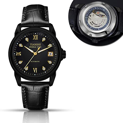 Todo reloj mecánico automático,Correa de cuero de casual moda luminoso impermeable calendario hombres negocios lujo-G: Amazon.es: Relojes
