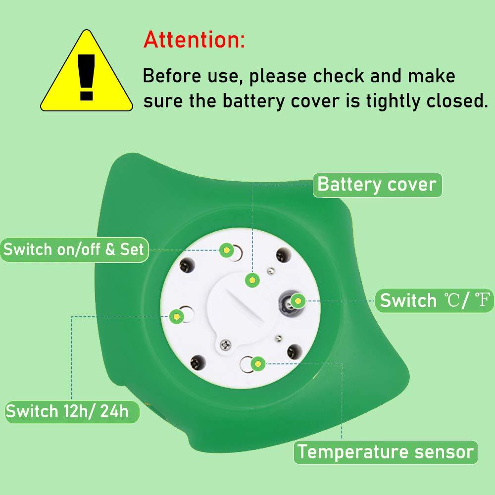 mit LED Warnalarm Badethermometer Baby Fisch Design,dunkelgr/ün Badethermometer Baby digital Uhr- und Timerfunktion Wasserthermometer Baby