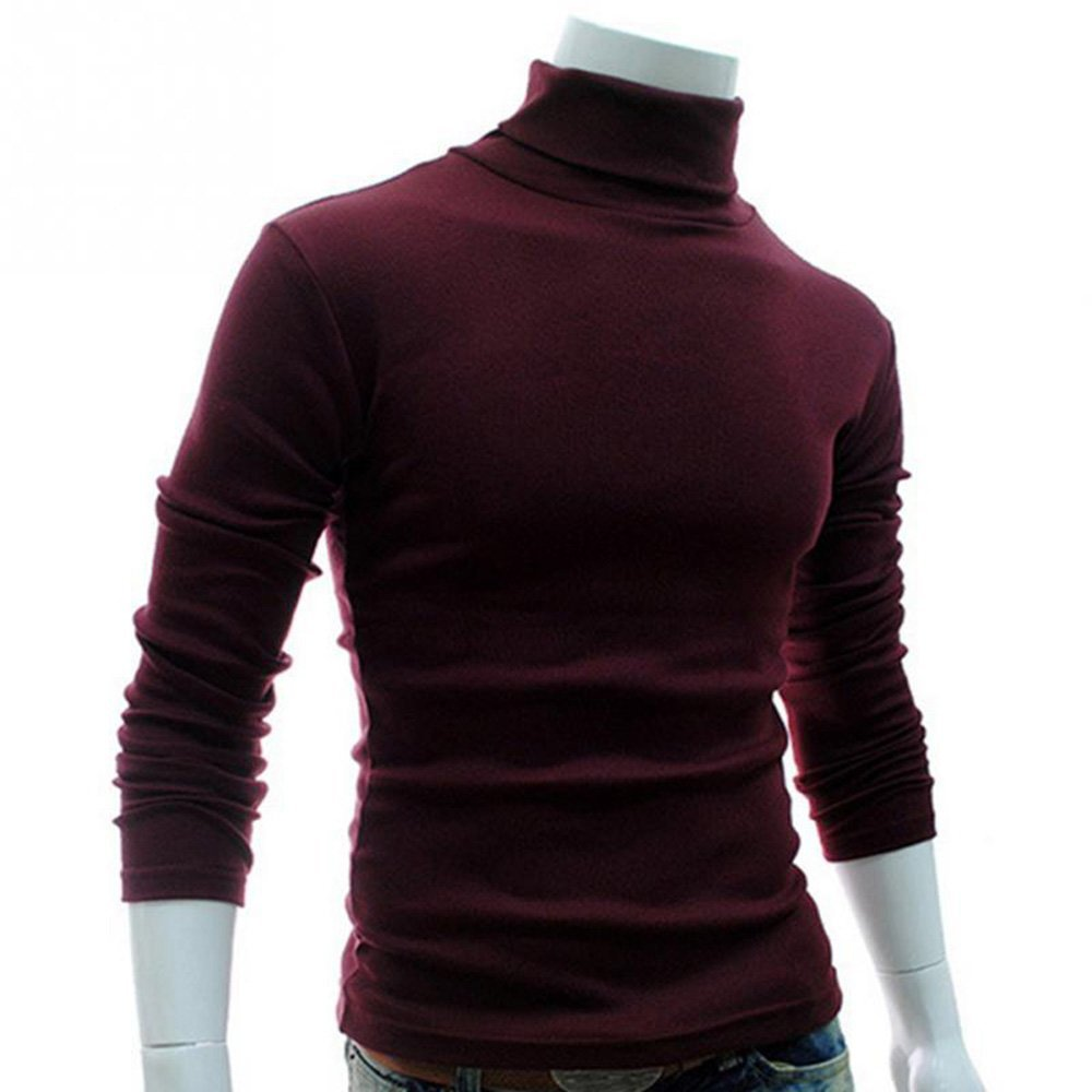 LOG SWIT Mens Sweaters Casual Male Turtleneck Mans Black Solid Knitwear Slim Clothing Sweater