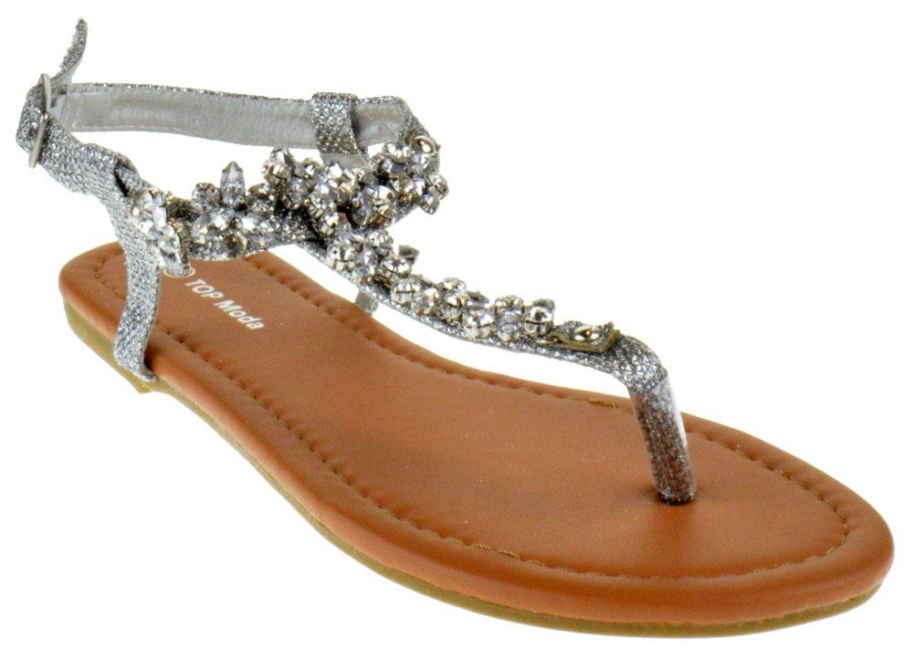 Top Moda Glazier 1 Womens Rhinestone Snowflake Flat Sandals Silver 7