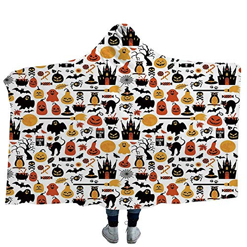 VAMIX Mens Hooded Blanket Harvest Great for Anxiety Autism and Sensory Processing Disorder Maple Tree Frame with Rustic Composition for Thanksgiving Halloween Dinner Food (Kids 50