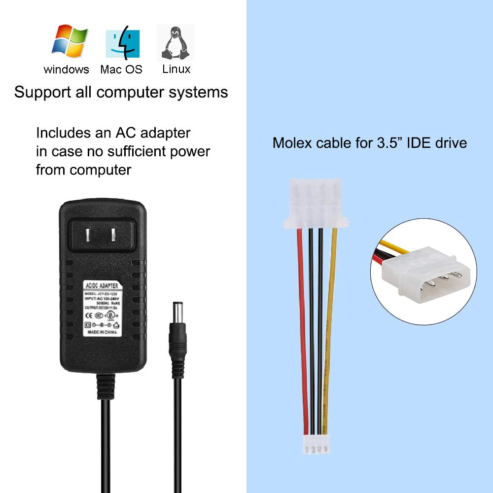 USB to SATA IDE HDD Adapter Mac OS USB 3.0 Cable to 2.5 3.5 SATA IDE Hard Drive for Windows 10//8.1//8// 7//Vista//XP Support 5TB