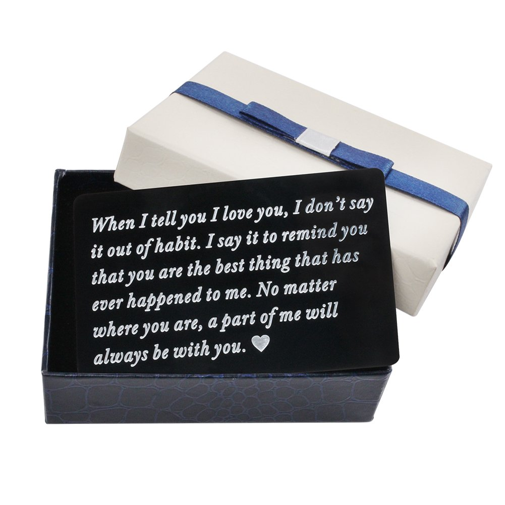 Personalized Wallet Card, Engraved Wallet Insert, Mini Love Note, Metal Wallet Card, Anniversary, Valentine's Day, Groom's Gift For Him, Father's Day, With Gift Box