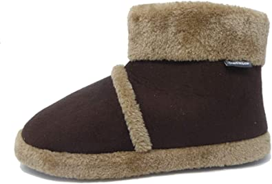 Men/'s Dunlop Faux Suede Furry Boot Style Slippers