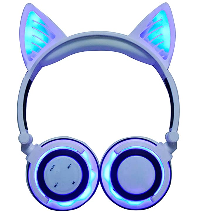 LIMSON Auriculares Inalámbricos Bluetooth Sobre el Oído, Headphones Plegables Recargables del oído del Gato con Micrófono Headset Ergonómicos ...