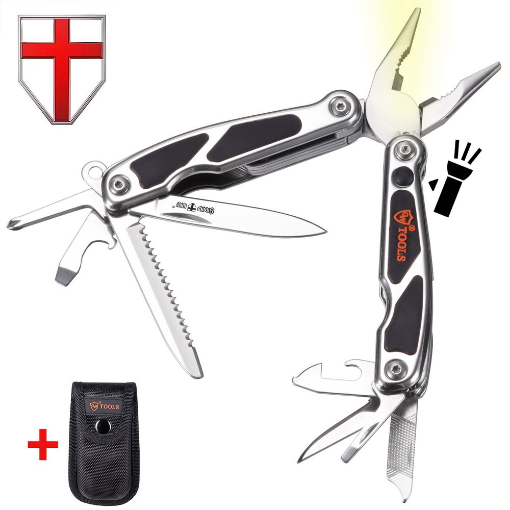 Multitool Pliers with Knife and Flashlight - Small EDC Pocket Folding Spring Loaded Multi Tool with Saw - Portable Tactical Utility Multi-Function Mini Tool - Grand Way 2611 - B1