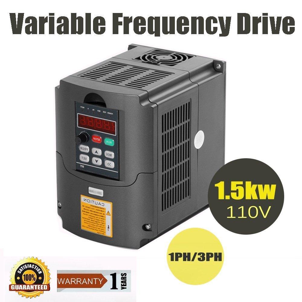 Konmison VFD Drive VFD 110V 1.5KW 3HP VFD Inverter Variable Frequency Drive Inverter for Spindle Motor Speed Control (110V 1.5kw VFD)