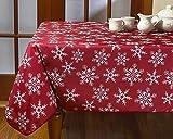 Violet Linen Decorative Christmas Snowflakes Design Red Tablecloths, 52' x 70'