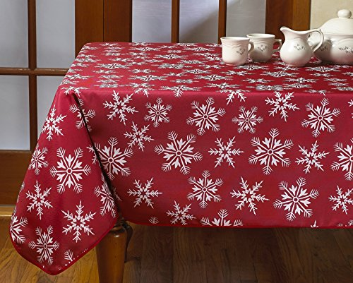 Wine Red Christmas Tablecloth with Snowflakes