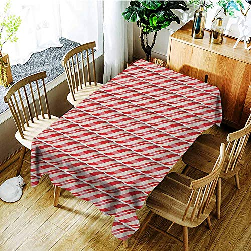 - XXANS Elastic Tablecloth Rectangular,Candy Cane,Red Christmas Candies Pattern with Diagonal Stripes Traditional Winter Sweets,Modern Minimalist,W54x72L Red Cream