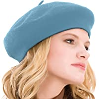 Kimming Womens Beret 100% Wool French Beret Solid Color Beanie Cap Hat