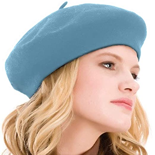 0bf0155411c22 Kimming Womens Beret 100% Wool French Beret Solid Color Beanie Cap Hat Aqua  Sky at Amazon Women s Clothing store