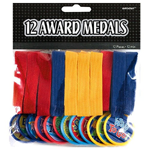 Fun Filled Award Medals Party Activity, Red,Blue,Yellow, Plastic , 13