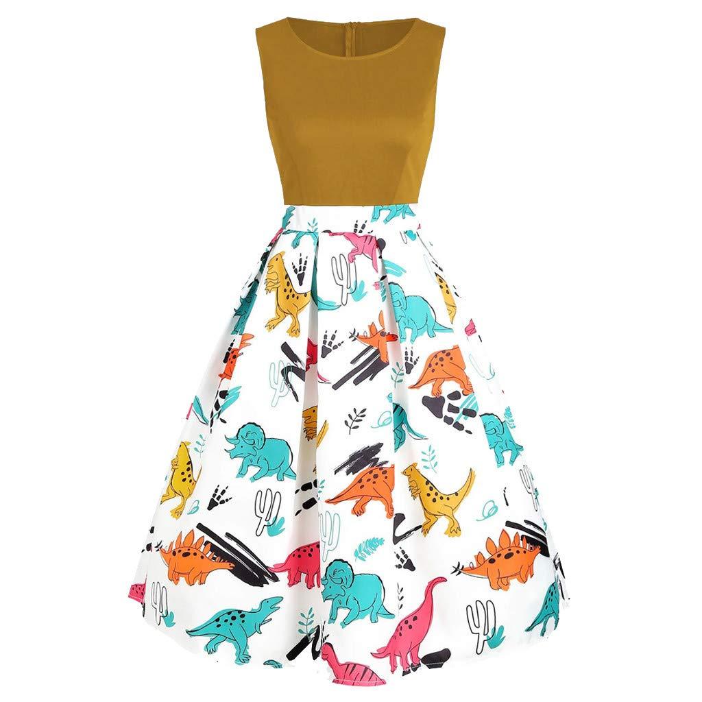 ℱLOVESOOℱ Women Dinosaur Printed Mini Dress Plus Size O-Neck Sleeveless Tunic Tank Dress Ladies Vintage Casual Swing Dress Yellow by ℱLOVESOOℱ