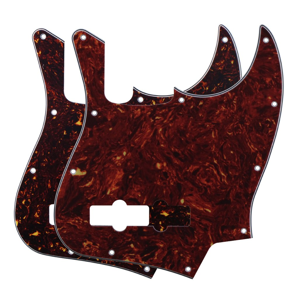FLEOR Pack of 2pcs Tortoise Shell 4Ply JB Jazz/J Bass Pickguard Scratch Plate for Standard JB Style, 10 Hole of Red & Brown Tortoise