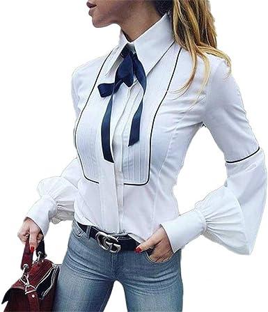 Office Bow Tie Blusa Mujer Linterna Manga Botón Blanco Corbata ...