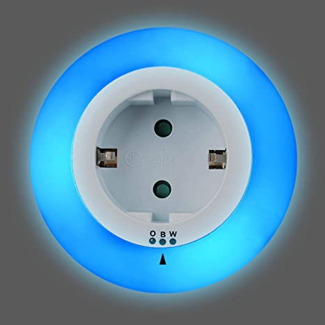 TIMESETL LED Enchufe de Luz Nocturna con Sensor de Crepúsculo 0.6W 2 in 1 Led