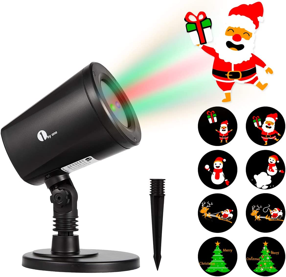 1byone Christmas Lights Projector Decorations Auto-Shifting Images Switchable Pattern Outdoor Indoor Use, Ip65 Water-Resistant