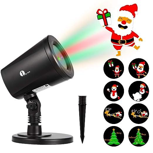 1byone proyector de navidad de luz LED imágenes que cambian automáticamente patrón conmutable uso en exterior/interior, resistente al agua IP65