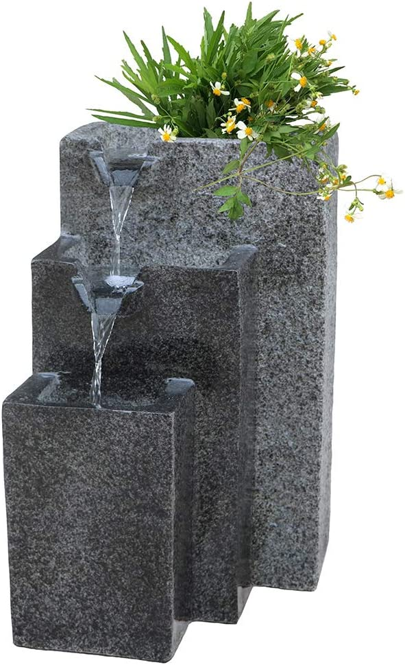Smarten Arts Rock Fountain Falling Water Fountain with LED Lights Three Tier Fountain with Low Splash Design for Garden/Patio/Balcony/Lawn Pump Included (Light Grey)
