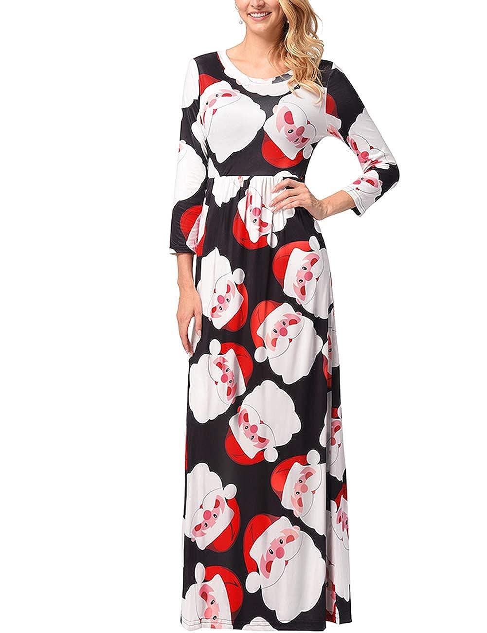 TALLA 3XL=ES 50-52. FeelinGirl Mujeres Vestido Largo Estampado Floral de Fiesta Navidad Falda Maxi de Manga Larga Nochebuena Multicolor-01 3XL=ES 50-52